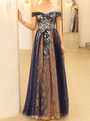 cheap Evening Dresses-Sheath / Column Floral Blue Engagement Formal Evening Dress Off Shoulder Short Sleeve Floor Length Polyester with Embroidery 2020
