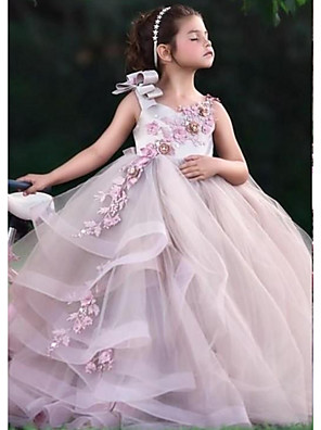 cheap Girls' Dresses-Ball Gown Floor Length Wedding Flower Girl Dresses - Tulle Sleeveless Jewel Neck with Tier / Appliques