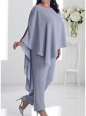 cheap Mother of the Bride Dresses-Pantsuit / Jumpsuit Mother of the Bride Dress Elegant Jewel Neck Floor Length Chiffon Long Sleeve with Beading 2020