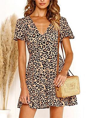 cheap Women's Blouses & Shirts-Women's A Line Dress - Short Sleeves Leopard V Neck White Red Green Brown S M L XL XXL