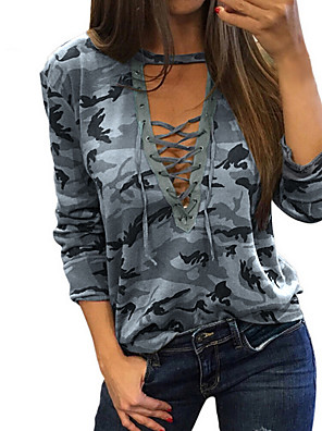 cheap Women's Blouses & Shirts-Women's T-shirt Camo / Camouflage Print Tops Basic V Neck Gray