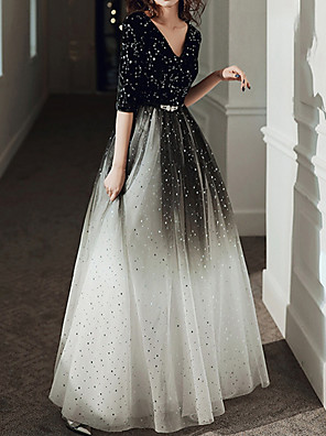 cheap Evening Dresses-A-Line Color Block Elegant Wedding Guest Prom Dress V Neck Half Sleeve Floor Length Tulle with Pleats Sequin 2020