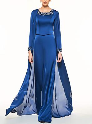 cheap Evening Dresses-Pantsuit / Jumpsuit Mother of the Bride Dress Elegant Jewel Neck Floor Length Chiffon Lace Long Sleeve with Pleats Beading 2020