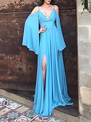 cheap Romantic Lace Dresses-Women's Maxi Sheath Dress - Long Sleeve Solid Color Strap Blue S M L XL