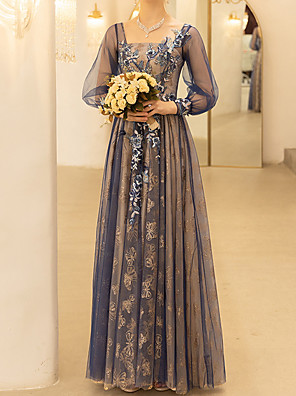 cheap Evening Dresses-A-Line Floral Blue Wedding Guest Formal Evening Dress Scoop Neck Long Sleeve Floor Length Polyester with Sequin Embroidery 2020