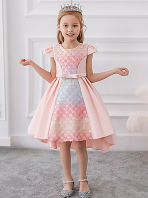 cheap Flower Girl Dresses-A-Line Ankle Length Party / Birthday Flower Girl Dresses - Mikado Sleeveless Jewel Neck with Bow(s) / Pleats