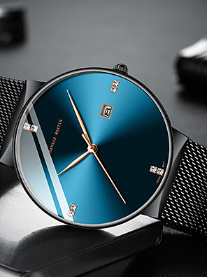 cheap Quartz Watches-HANNAH MARTIN Men's Dress Watch Steel Band Watches Fashion Casual Watch Stainless Steel Black / Silver Analog - Black / Blue Black / Silver Black / Rose Gold One Year Battery Life / Japanese
