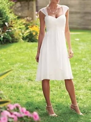 cheap Wedding Dresses-A-Line Wedding Dresses Scoop Neck Knee Length Chiffon Taffeta Sleeveless Country Plus Size with Draping 2020