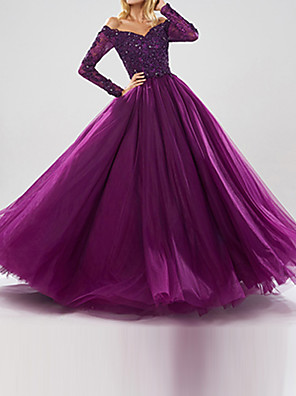 cheap Prom Dresses-Ball Gown Sparkle Purple Quinceanera Prom Dress Off Shoulder Long Sleeve Floor Length Tulle with Beading Sequin 2020