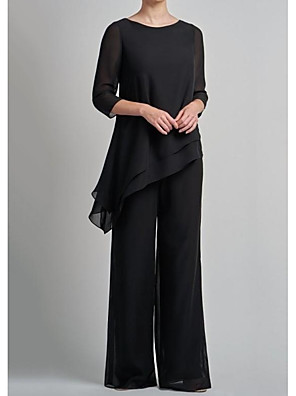 cheap Mother of the Bride Dresses-Pantsuit / Jumpsuit Mother of the Bride Dress Elegant Jewel Neck Floor Length Chiffon 3/4 Length Sleeve with Ruffles 2020