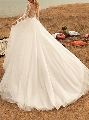 cheap Wedding Dresses-A-Line Wedding Dresses Jewel Neck Sweep / Brush Train Tulle Long Sleeve Country Plus Size with Appliques 2020