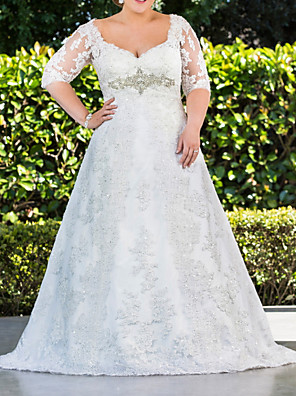 cheap Wedding Dresses-A-Line Wedding Dresses Scoop Neck Sweep / Brush Train Lace Tulle Half Sleeve Country Plus Size with Lace Buttons Embroidery 2020