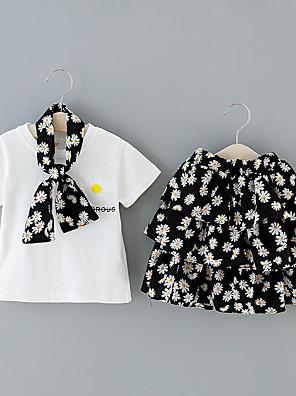 cheap Girls' Dresses-Kids Girls' Basic Floral Print Short Sleeve Regular Clothing Set White