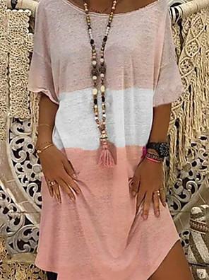 cheap Casual Dresses-Women's Shift Dress - Short Sleeves Color Block Color Block Summer Casual Loose 2020 Black Blue Red Blushing Pink S M L XL XXL XXXL XXXXL XXXXXL