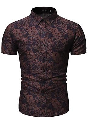 cheap Men's Shirts-Men's Geometric Graphic Shirt Daily Blue / Red / Short Sleeve