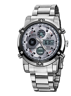 cheap Steel Band Watches-ASJ Men's Digital Watch Digital Casual Water Resistant / Waterproof Analog - Digital Black Silver Silver+Blue / Stainless Steel / Alarm / Calendar / date / day / Stopwatch / Noctilucent