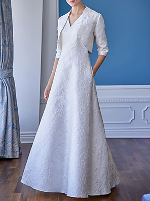 cheap Evening Dresses-A-Line Mother of the Bride Dress Elegant V Neck Floor Length Polyester Half Sleeve with Appliques 2020