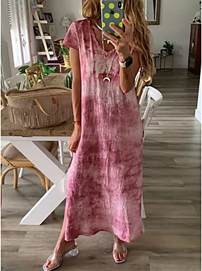cheap Summer Dresses-Women's Shift Dress - Short Sleeves Print Tie Dye Spring & Summer V Neck Casual 2020 Blushing Pink L XL XXL