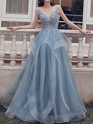 cheap Evening Dresses-Ball Gown Beautiful Back Blue Prom Formal Evening Dress Spaghetti Strap Sleeveless Floor Length Polyester with Pleats Appliques 2020