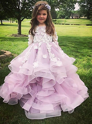 cheap Girls' Dresses-Ball Gown Sweep / Brush Train Wedding Flower Girl Dresses - Polyester Long Sleeve Jewel Neck with Tier / Appliques / Solid