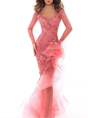 cheap Evening Dresses-Mermaid / Trumpet Sexy Pink Engagement Formal Evening Dress V Neck Long Sleeve Floor Length Tulle with Ruffles Appliques 2020