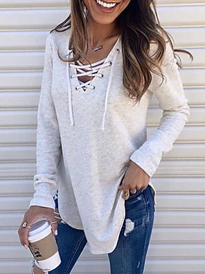 cheap Women's Blouses & Shirts-Women's T-shirt Solid Colored Drawstring Loose Tops V Neck Wine White Black / Long Sleeve