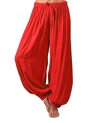 cheap Women's Pants-Women's Sporty Loose Bloomers Pants - Solid Colored White Black Red S / M / L