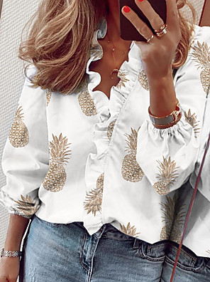 cheap Women's Blouses & Shirts-Women's Blouse Floral Letter Fruit Ruffle Pleated Print Tops Basic Street chic V Neck White Blushing Pink Khaki / Long Sleeve / Going out
