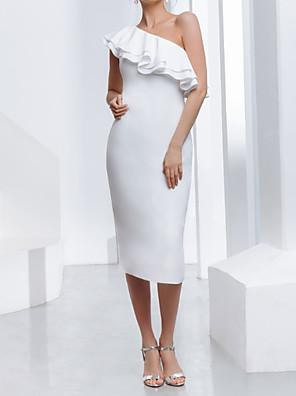 cheap Wedding Dresses-Sheath / Column Wedding Dresses One Shoulder Tea Length Stretch Satin Sleeveless Country Plus Size with Cascading Ruffles 2020