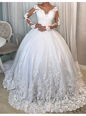 cheap Wedding Dresses-Ball Gown Wedding Dresses V Neck Court Train Polyester Long Sleeve Country Plus Size with Lace Insert 2020