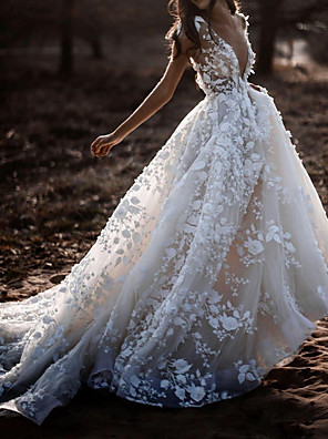 cheap Wedding Dresses-A-Line Wedding Dresses Plunging Neck Court Train Polyester Cap Sleeve Sexy Plus Size with Lace Embroidery 2020