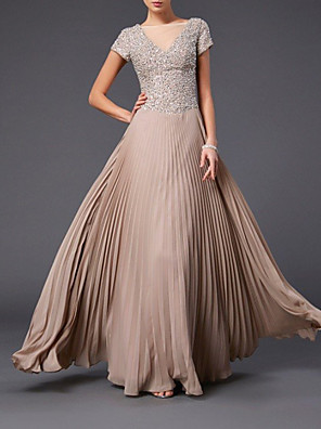 cheap Evening Dresses-A-Line Mother of the Bride Dress Elegant Sparkle & Shine Jewel Neck Floor Length Chiffon Tulle Short Sleeve with Pleats Beading Sequin 2020