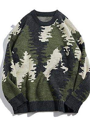 cheap Women's Sweaters-Women's Geometric Long Sleeve Pullover Sweater Jumper, Round Neck Royal Blue / Gray M / L / XL