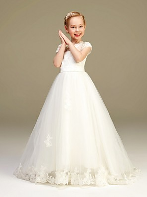 cheap Flower Girl Dresses-A-Line Floor Length Party / Pageant Flower Girl Dresses - Polyester / Tulle Short Sleeve Jewel Neck with Lace