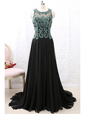 cheap Evening Dresses-A-Line Sparkle Black Engagement Formal Evening Dress Illusion Neck Sleeveless Court Train Chiffon with Pleats Beading Sequin 2020