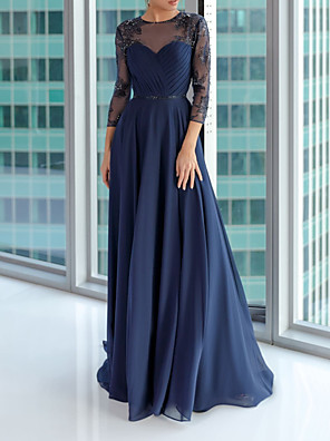 cheap Evening Dresses-A-Line Elegant Blue Engagement Formal Evening Dress Illusion Neck 3/4 Length Sleeve Floor Length Chiffon with Pleats Embroidery 2020