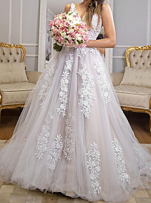 cheap Wedding Dresses-A-Line Wedding Dresses V Neck Sweep / Brush Train Tulle Polyester Sleeveless Country Plus Size with Embroidery Appliques 2020