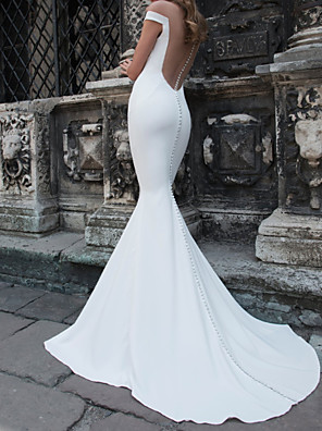 cheap Wedding Dresses-Mermaid / Trumpet Wedding Dresses Off Shoulder Sweep / Brush Train Tulle Stretch Satin Jersey Short Sleeve Country Plus Size with Buttons 2020