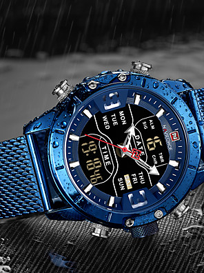 cheap Sport Watches-NAVIFORCE Men's Military Watch Navy Seal Watch Quartz Outdoor Alarm Stainless Steel Black / Blue / Silver Analog - Digital - Black / Rose Gold Black Blue Two Years Battery Life / Chronograph