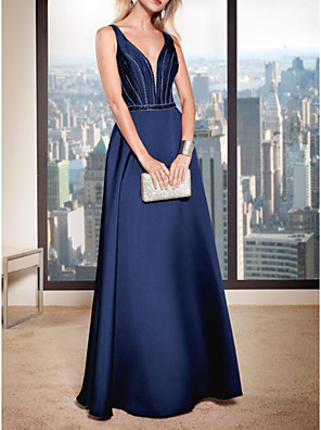 cheap Cocktail Dresses-A-Line V Neck Floor Length Satin Bridesmaid Dress with Beading / Ruching