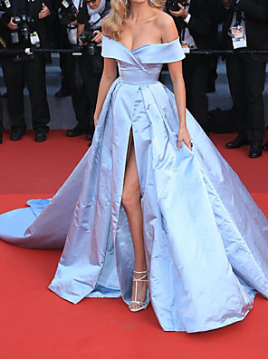 cheap Prom Dresses-Ball Gown Elegant Blue Engagement Formal Evening Dress Off Shoulder Short Sleeve Court Train Polyester with Split 2020