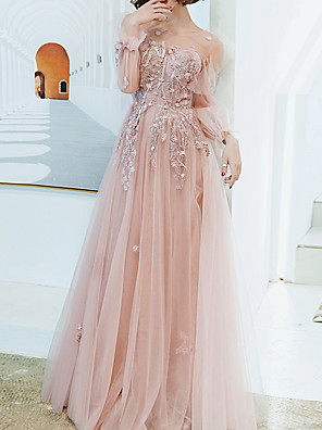 cheap Evening Dresses-A-Line Floral Pink Engagement Prom Dress Illusion Neck Long Sleeve Floor Length Tulle with Appliques 2020