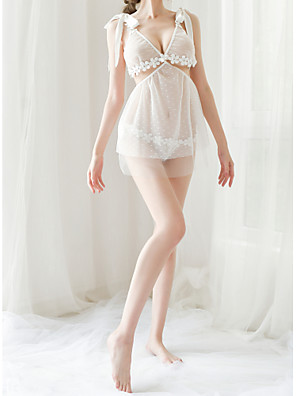 cheap Suits-Women's Lace / Backless / Cut Out Suits Nightwear Jacquard / Solid Colored White Black One-Size