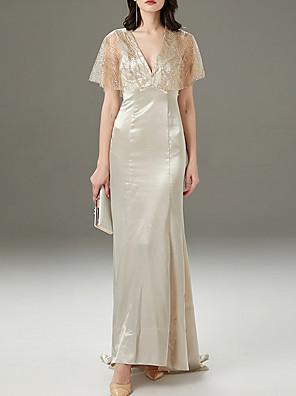 cheap Evening Dresses-Mermaid / Trumpet Elegant Glittering Wedding Guest Engagement Dress V Neck Short Sleeve Sweep / Brush Train Polyester with Sequin 2020
