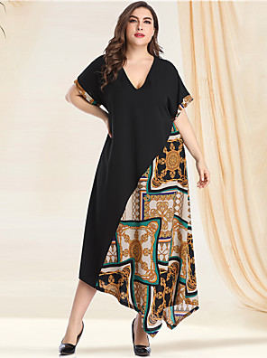 cheap Plus Size Dresses-Women's Plus Size Asymmetrical A Line Dress - Long Sleeve Print Solid Color Tribal Patchwork Print Spring & Summer V Neck Casual Vintage Daily Going out Batwing Sleeve Green L XL XXL XXXL XXXXL