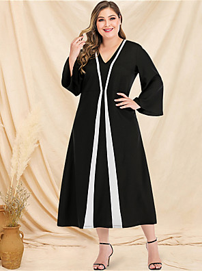 cheap Plus Size Dresses-Women's Plus Size Maxi A Line Dress - Long Sleeve Color Block Solid Color Patchwork V Neck Casual Street chic Daily Going out Flare Cuff Sleeve Black L XL XXL XXXL XXXXL