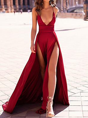 cheap Evening Dresses-A-Line Minimalist Red Party Wear Formal Evening Dress Spaghetti Strap Sleeveless Sweep / Brush Train Satin with Split 2020