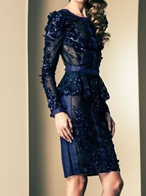 cheap Prom Dresses-Sheath / Column Mother of the Bride Dress Sexy Jewel Neck Knee Length Polyester Long Sleeve with Appliques 2020