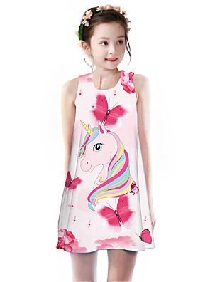 cheap Girls' Dresses-Kids Girls' Basic Cute Unicorn Rainbow Animal Cartoon Print Sleeveless Knee-length Dress Blushing Pink