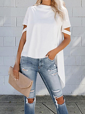 cheap Women's Blouses-Women's Solid Colored Cut Out Asymmetric Loose T-shirt - Cotton Street chic Daily Weekend White / Black / Gray